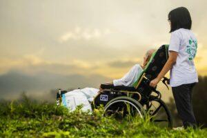 woman in wheelchair outside